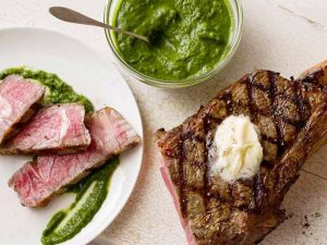Grilled Rib Eye Steak With Green Confiture