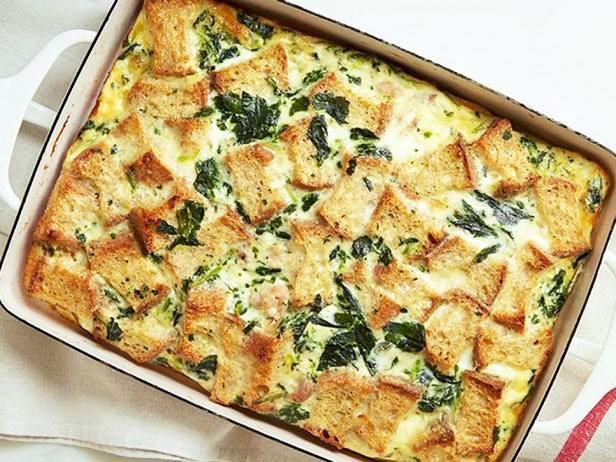Casserole With Spinach And Minced Meat For Breakfast