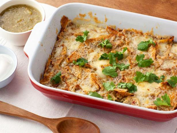 Chilaquilis Casserole With Crispy Chips, Cheese And Egg