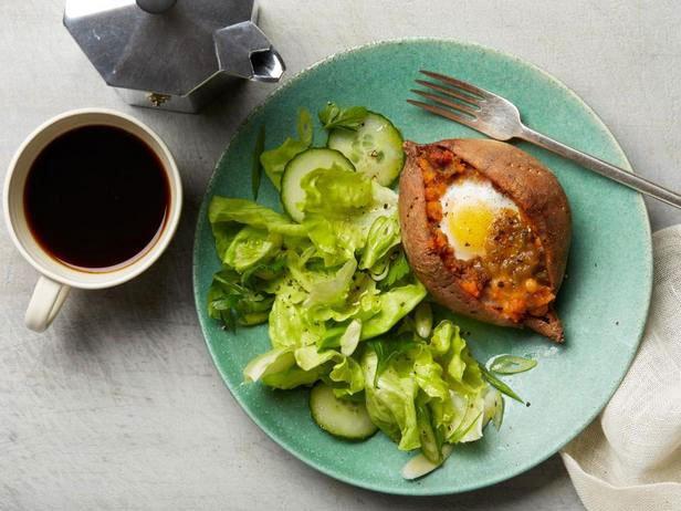 Double Baked Sweet Potato For Breakfast