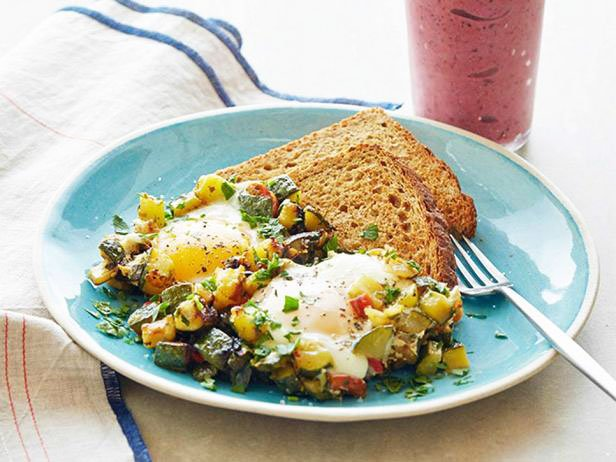 Fried Zucchini With Eggs And Berry Banana Smoothie