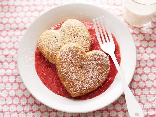 Fritters Hearts From Whole Wheat Flour With Strawberry Sauce