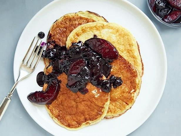 Lush Pancakes On Yogurt With Blueberry Peach Sauce