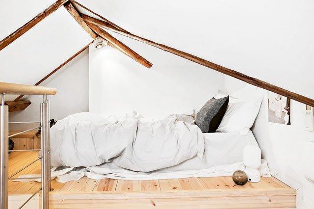 Attic Scandinavian-style bedrooms cozy corner