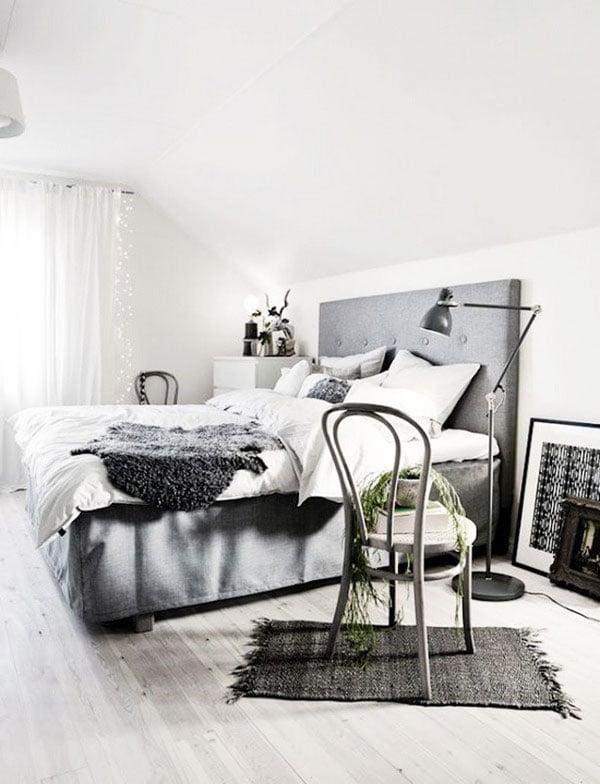 Gray bedroom in Scandinavian style