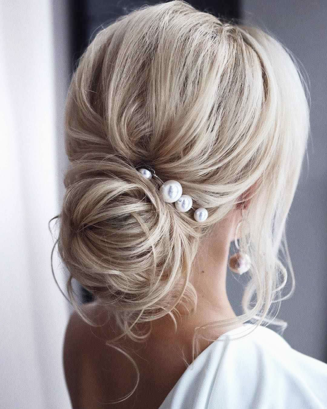 Hairstyles long hair with white pearl hair pin