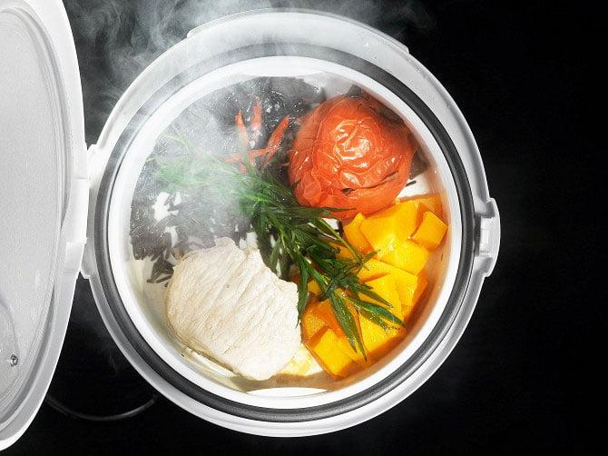 Pork loin with wild rice, pumpkin, tomatoes, and tarragon