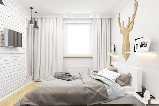 scandinavian style bedroom wood