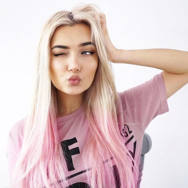 pink strands on blond hair