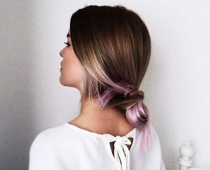 styling under the colored tips of the hair