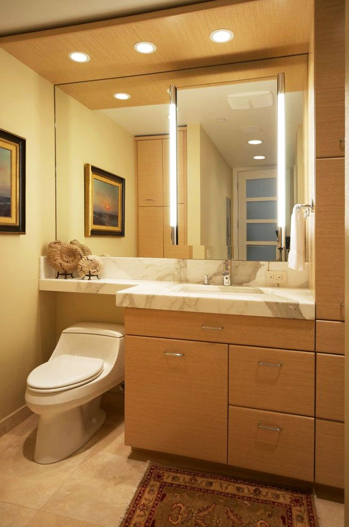 Wooden Shelf In The Interior Of The Bathroom - Styling Bathroom Shelves-