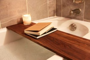 Wooden Shelf In The Interior Of The Bathroom - Styling Bathroom Shelves- small house decorating ideas