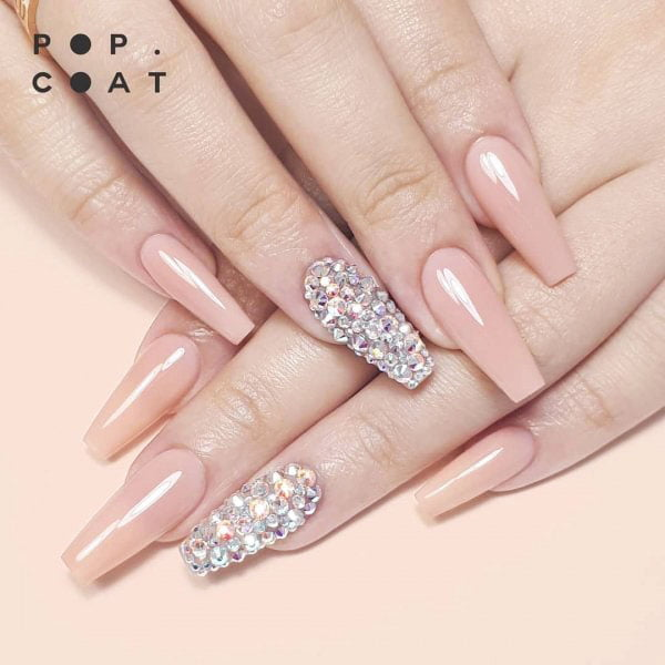 3d effect nail polish - bride wedding nail design