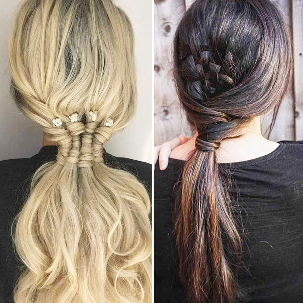 plain semi module with braid hairstyle - Pony Tail Hairstyle Ideas For Wedding