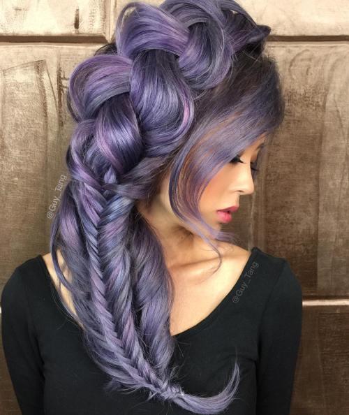 10-pastel-purple-hairstyle - Purple Hair Highlights In Blonde Hair