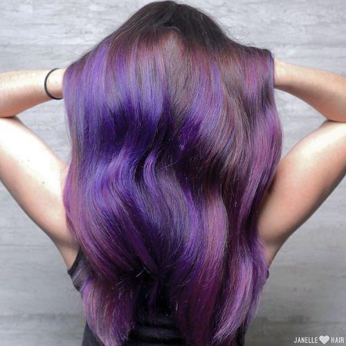 11-Purple-balayage-for-long-brown-hair - Amethyst Color - Purple Hair Highlights In Blonde Hair