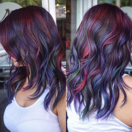 12-blue-burgundy-and-purple-highlights - Berry Hair Color - Beautiful Berry Hair