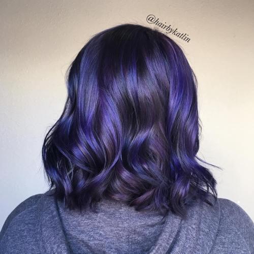 14-black-bob-with-blue-and-purple-highlights - Indigo Hair - Indigo Hair Color