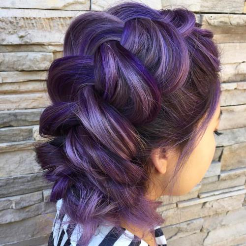 15-brown-braided-updo-with-violet-highlights - Big Braids Hairstyles - Highlights In Blonde Hair