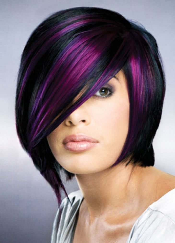 Short Hair - 19-Awesome-Medium-Length-Purple-Hair-Highlights-In-Blonde-Hair