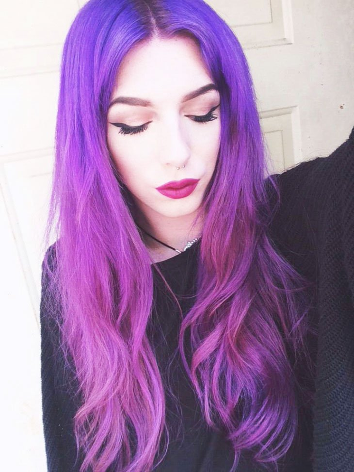 Current And Fashionable Images With Purple Ombre - 19-Awesome-Medium-Length-Purple-Hair-Highlights-In-Blonde-Hair