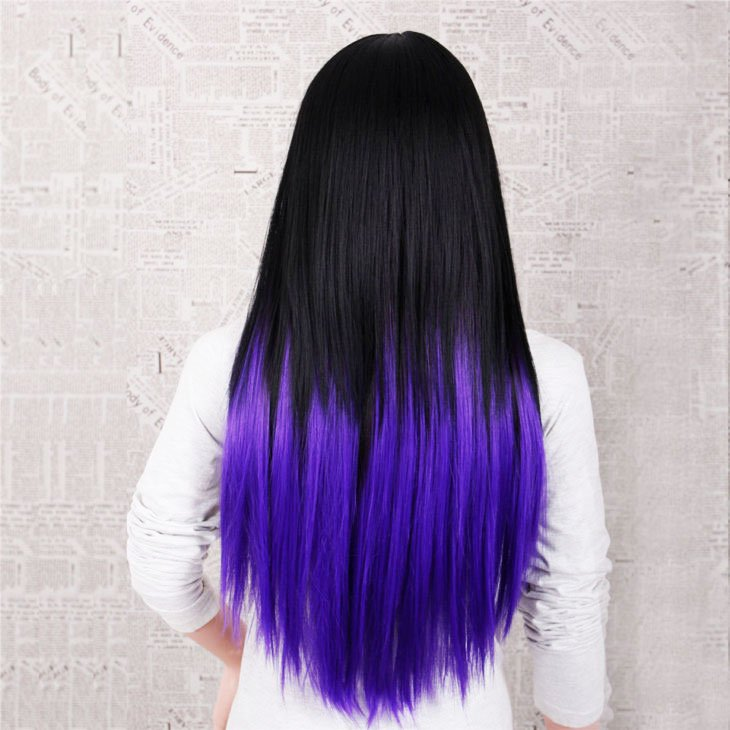On Dark Hair - 19-Awesome-Medium-Length-Purple-Hair-Highlights-In-Blonde-Hair