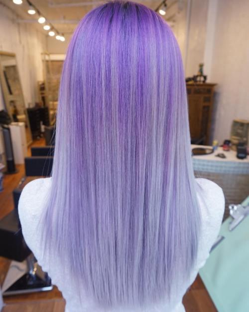 20-straight-purple-blonde-hair - Purple Hair Highlights In Blonde Hair