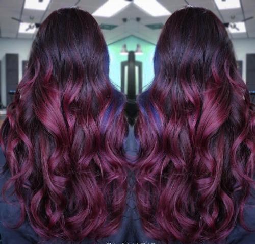 3-long-burgundy-ombre-hair - plump method curly hair