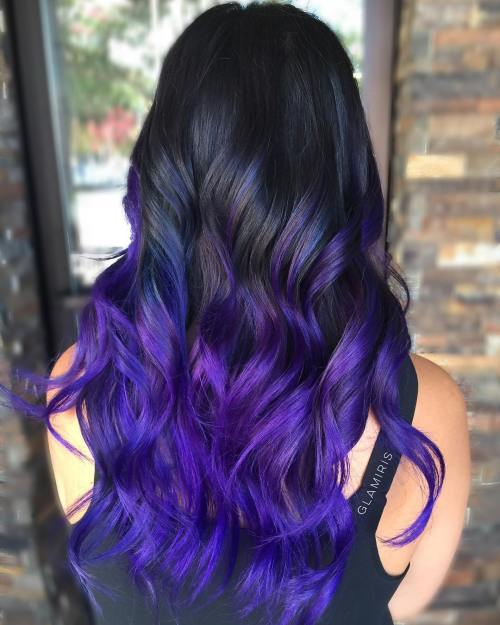 7-black-to-purple-ombre-hair - black blue and purple hair