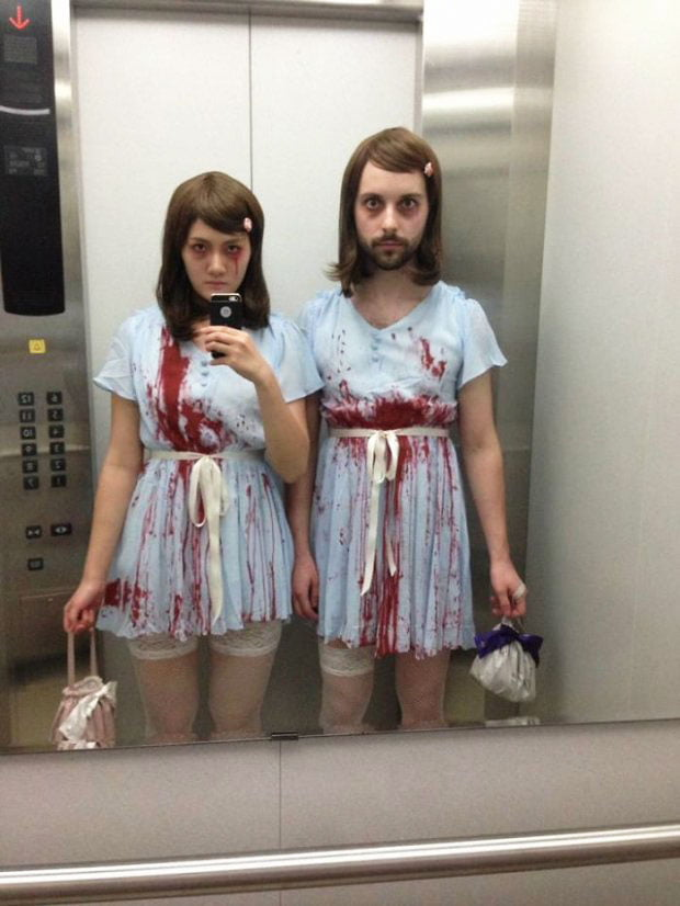 A terrible couple from the movie The Shining - an image on Halloween