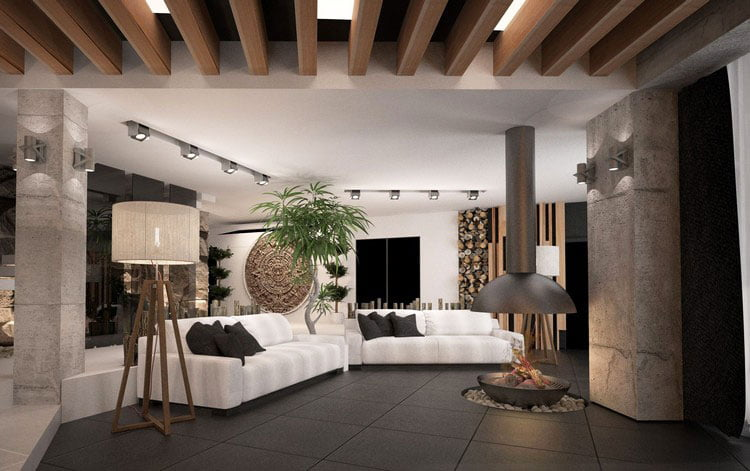 Apply dark shades in the interior of the living room