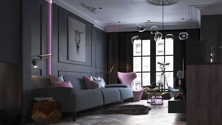 Bright decorative elements can liven up the dark living room