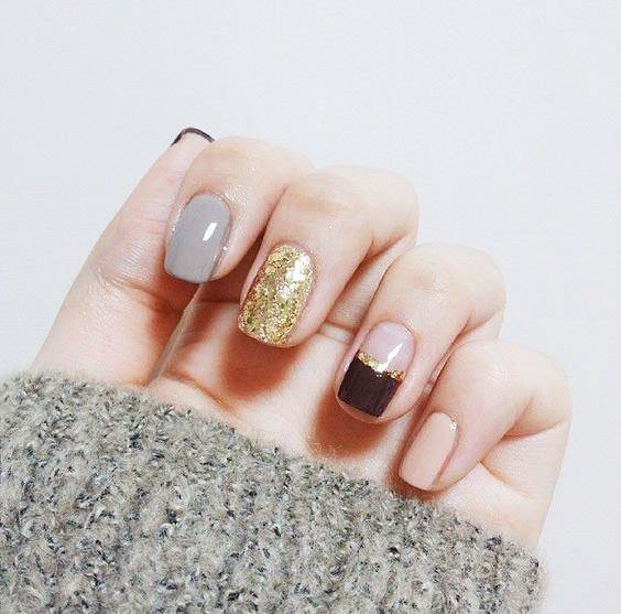 Ideas Manimana With Micro-shimorsand And Laconic Graphic - Gel Nails ideas