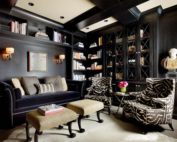 Lightening the living room in dark shades will help the white ceiling and lots of light