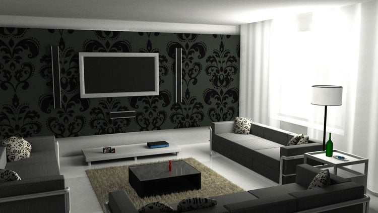 Shade dark chocolate walls will help white ceiling, beige sofa and live bright flowers in vases