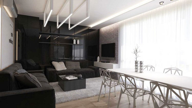 Stylish design can be obtained using a black and white color scheme
