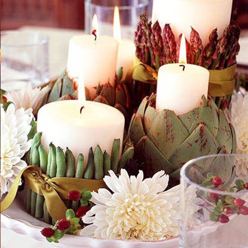 The attractive honey color of wax candles fits perfectly into the autumn composition - Thanksgiving Decorations For Home