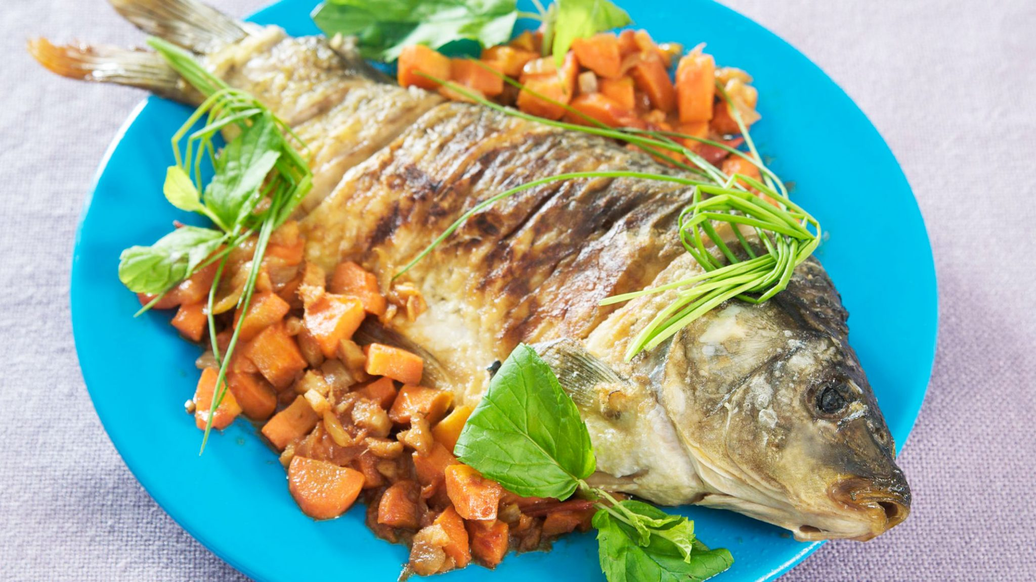 Carp Baked In The Oven Entirely In Foil & cook -Traditional American Thanksgiving Dinner