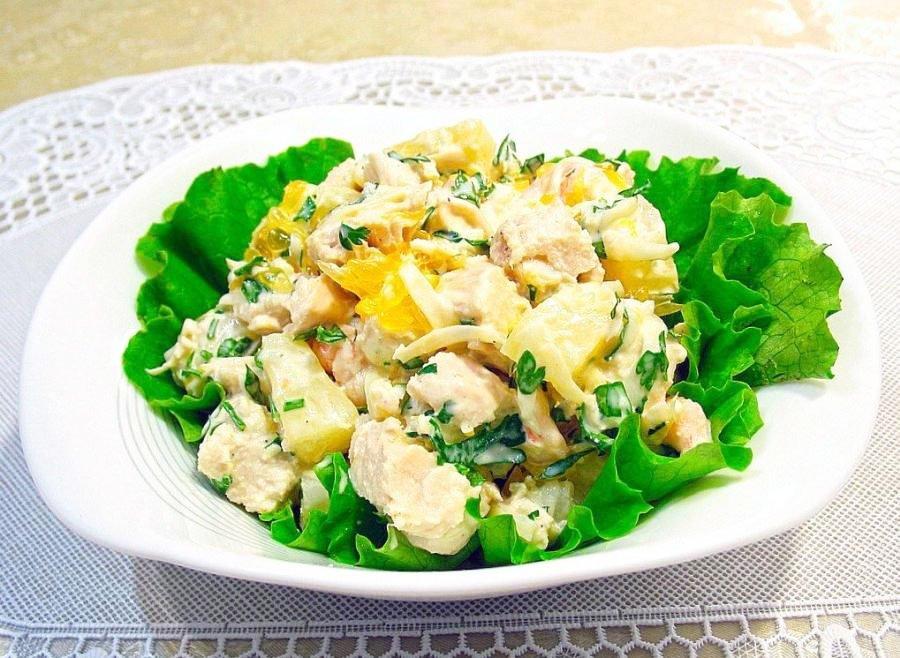 Christmas & New Year's Salad With Smoked Chicken And Pineapple - christmas side salad