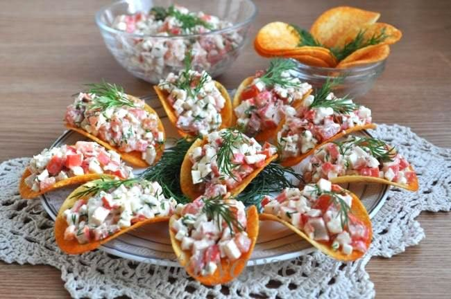 Crab Salad On Chips Snacks For New Year