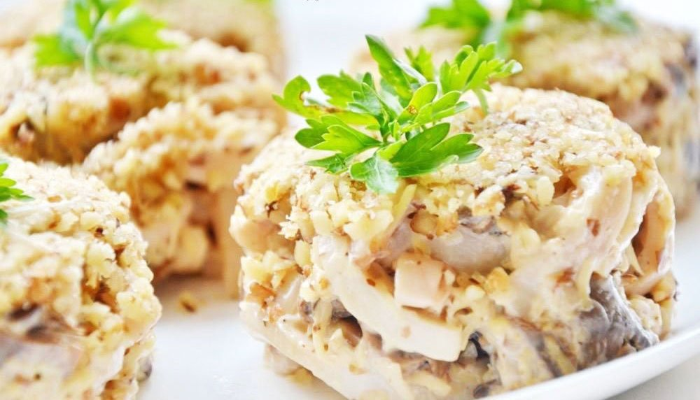 High-protein New Year's Treat With Squid And Nuts Salads - Christmas Side Salads