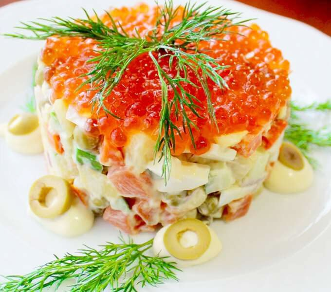 Olivier- with Redfish And Caviar Salads - Christmas side salad