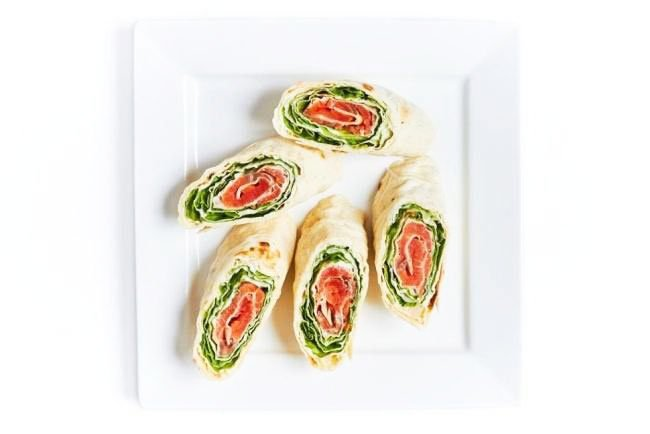 Roll With Red Fish And Salad Leaves Snacks-Snacks For New Year