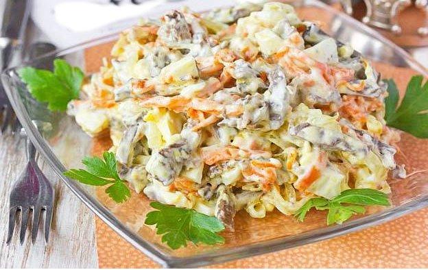 Snack With Pork Heart, Eggs And Vegetable Salads - CHRISTMAS SIDE SALAD