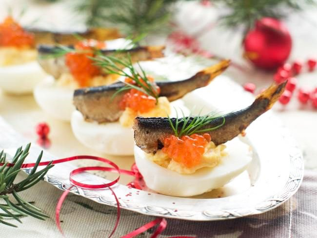 Stuffed Eggs With Sports Snacks For New Year