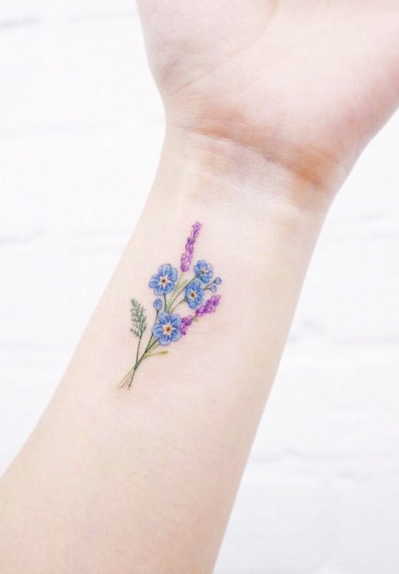 Multi-colored Tattoos - 41 Best Small Flower Tattoos For Women