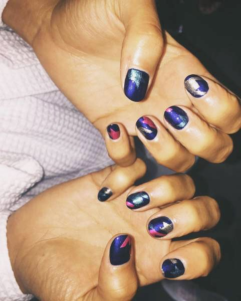Blue Long Nails Designs With Sequins