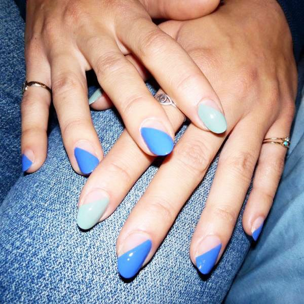 Blue With Silver - blue nails
