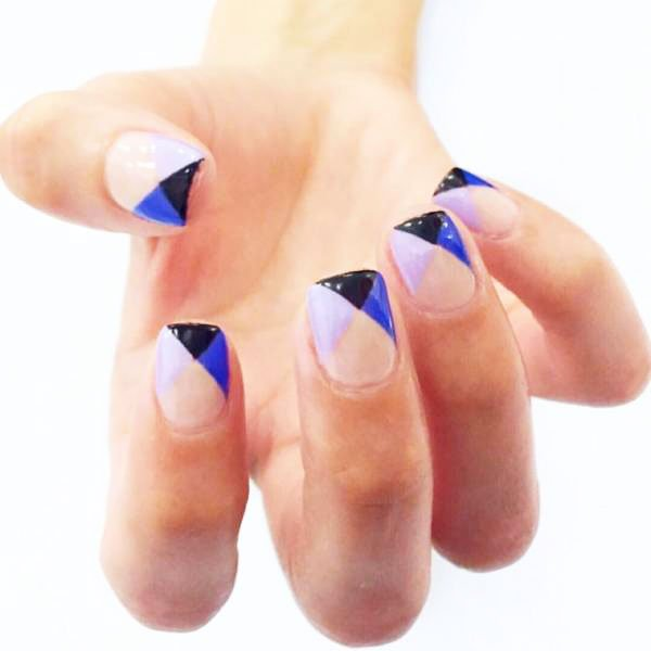 blue french nails - Blue Long Nails Design