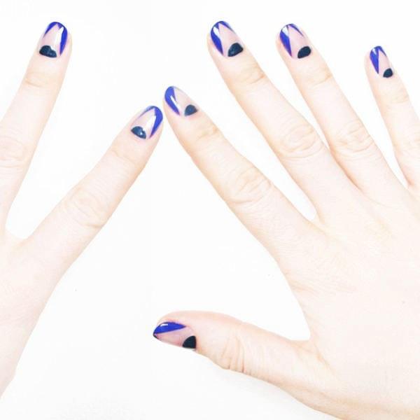 lunula nails - Blue Long Nails